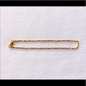 """Jewelry - Solid 14K Gold Rope Bracelet 7.25"""" 2.33g 1.5mm"""